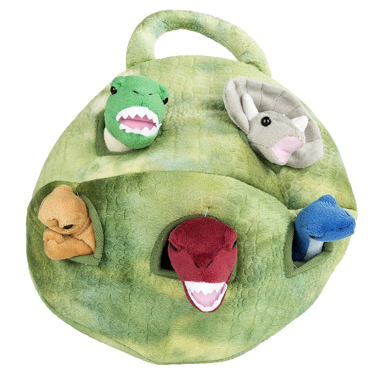 "Dinosaur House - 12"" Carrying Case w/5 Plush Dinosaurs by Unipak Designs"