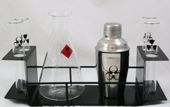 Chemistry Themed Cocktail Barware Set w Hazard Label Decals