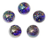 "1 Inch ""Glitterbomb"" Marble 25mm Shooters - Pack of 5 w/Stands"