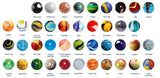 14-16mm Glass Marble Collection of 44 Different Patterns w/24 Pk Marble Display Rings