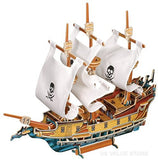 3D Wooden Pirate Ship Model w/ White Sails