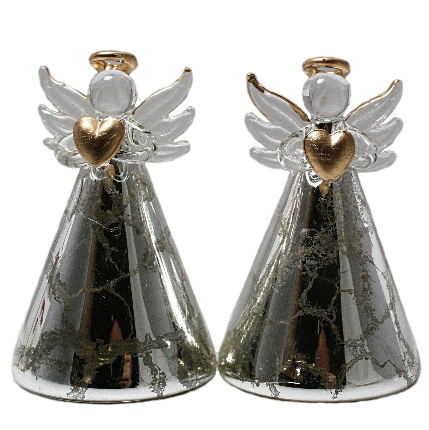 Holiday Multi-Color Light-Up Silver Crackled Glass Angel - Set of 2