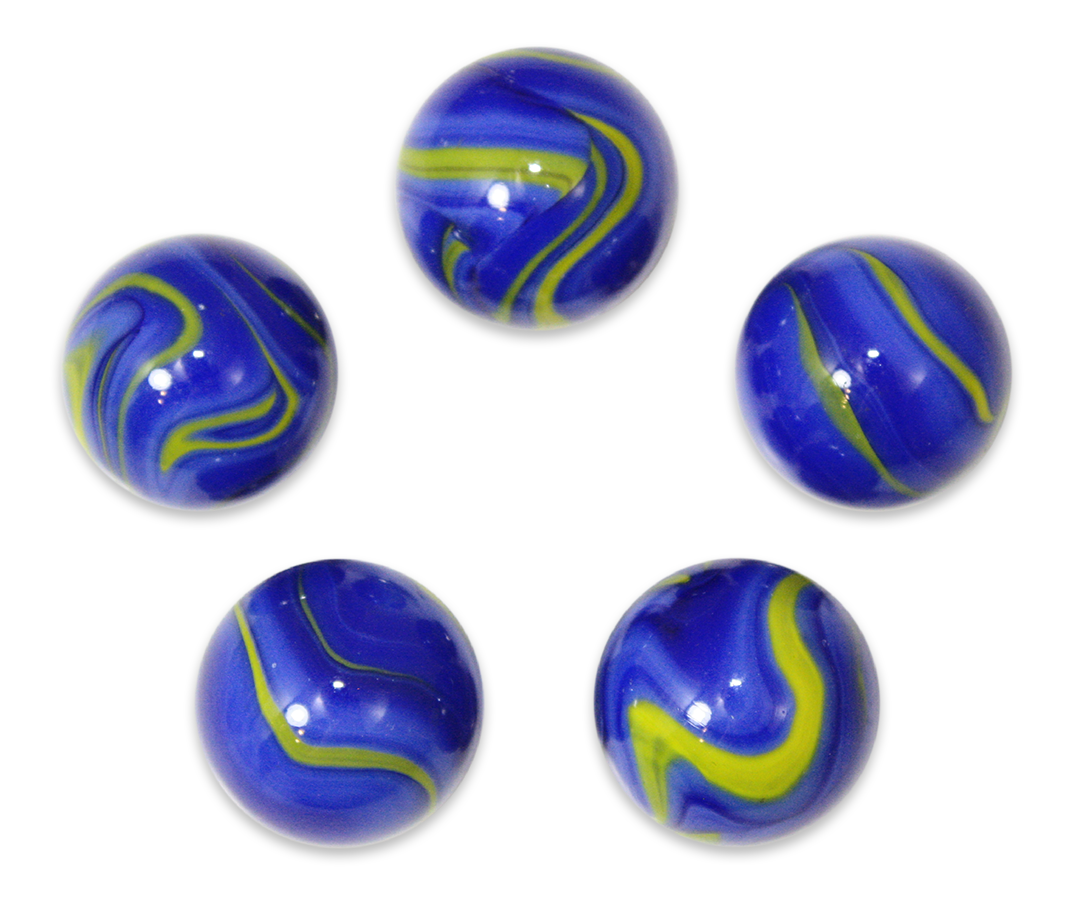 "7/8-Inch ""Van Gogh"" Marble 22mm Shooters - Pack of 5 w/Stands"
