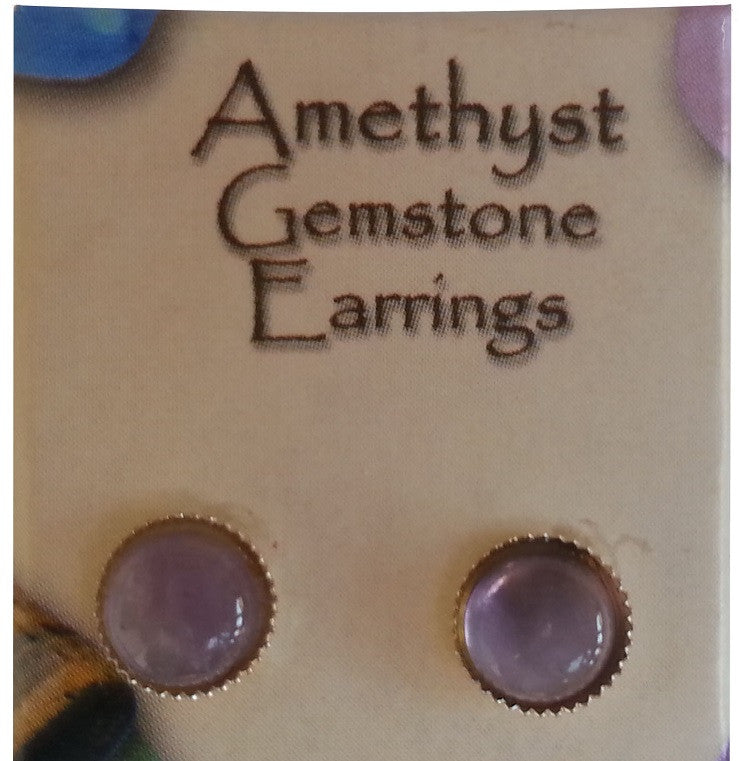 Natural Gemstone Amethyst Stud Earrings - Off The Wall Toys and Gifts