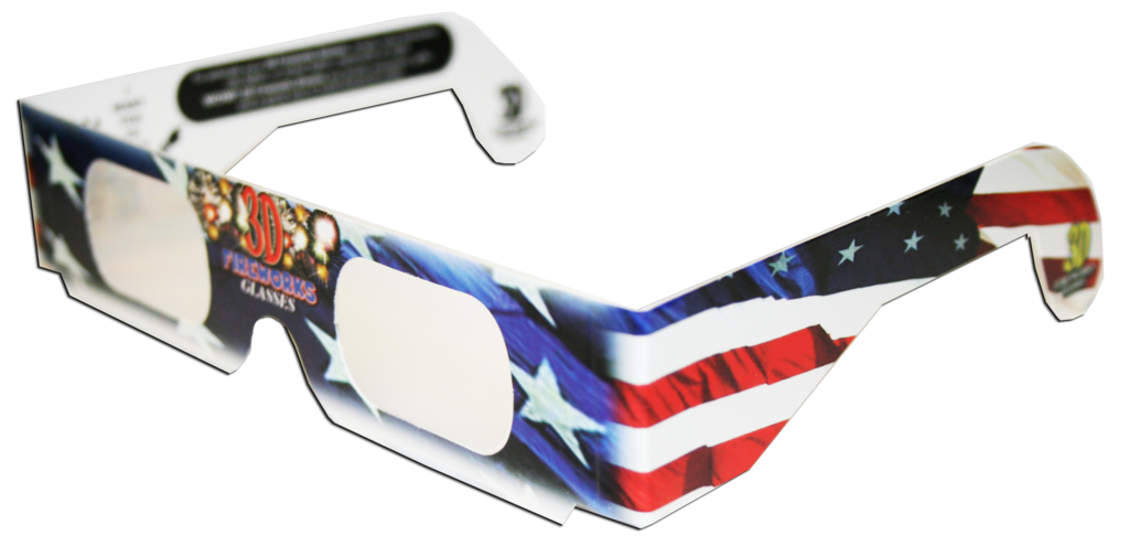 3D Fireworks Glasses Patriotic Flag Design, See Starbursts In Every Point Of Light, Pack of 5