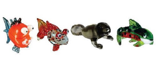 Looking Glass Torch Figurines - 3 Different Fish & Manatee (4-Pack) - Off The Wall Toys and Gifts