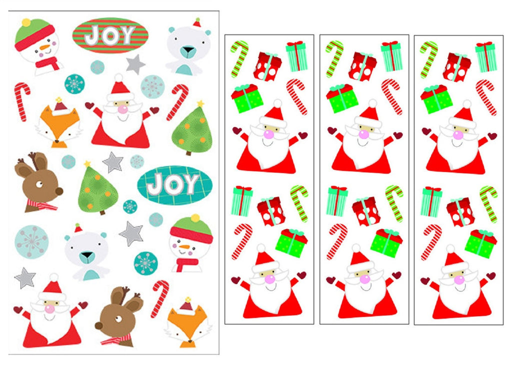 Mrs Grossman's Christmas Stickers, Set E - Santa, Present, Reindeer, Candy Cane & More