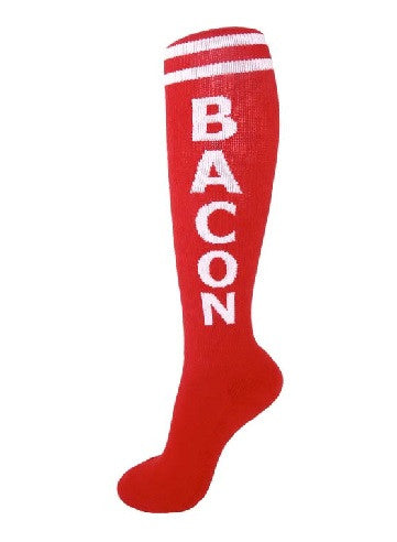 Bacon Socks - Red and White Unisex Knee High Socks - Off The Wall Toys and Gifts