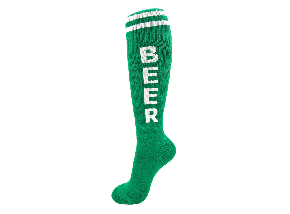 Beer Socks - Green and White Unisex Knee Socks - Off The Wall Toys and Gifts