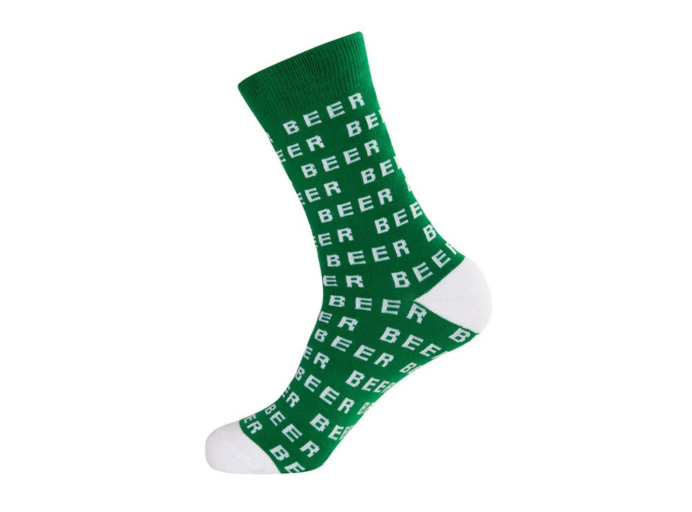 Beer Socks - White and Green Unisex Crew Socks
