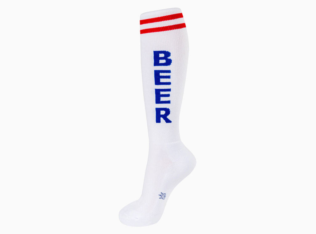 Beer Socks - Red, White and Blue Unisex Knee High Socks - Off The Wall Toys and Gifts