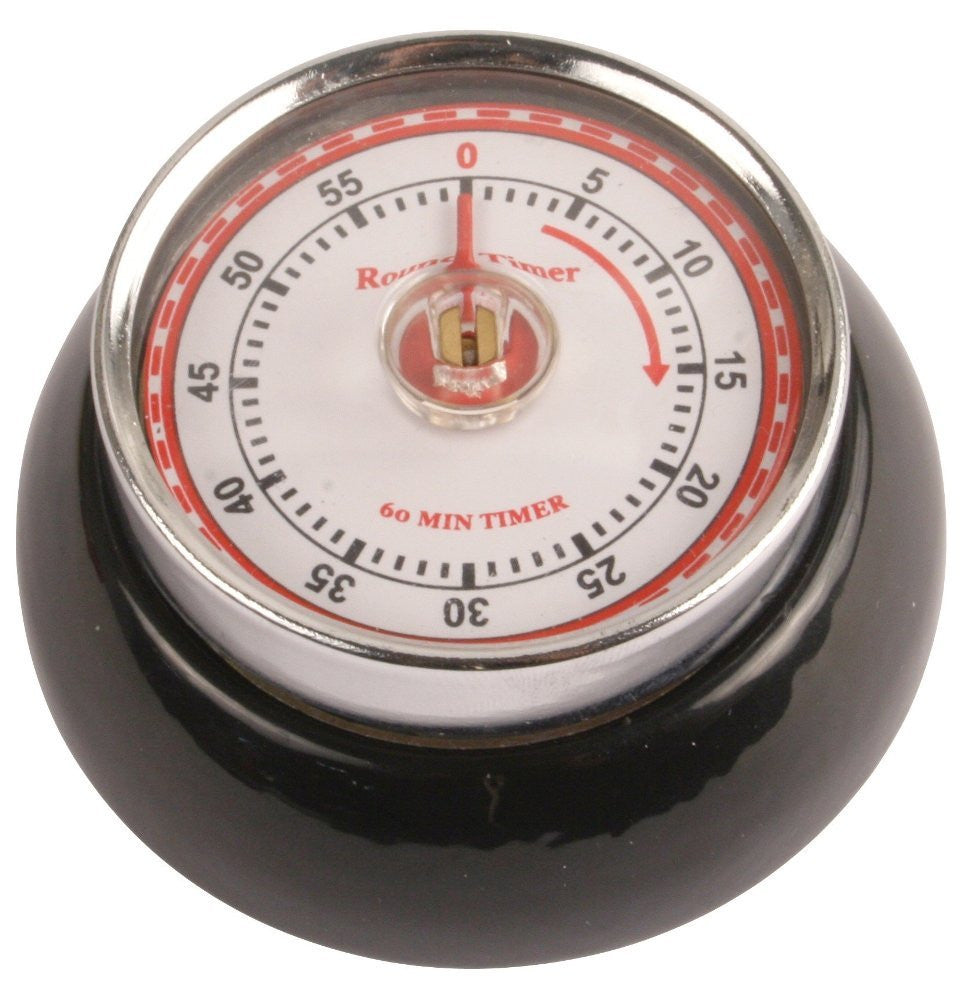 55 Min. Magnetic Rotary Kitchen Timer Retro Steel Black