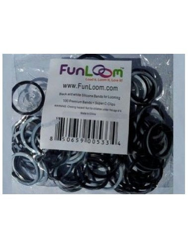 FunLoom Silicone Bands - Black And White - Off The Wall Toys and Gifts
