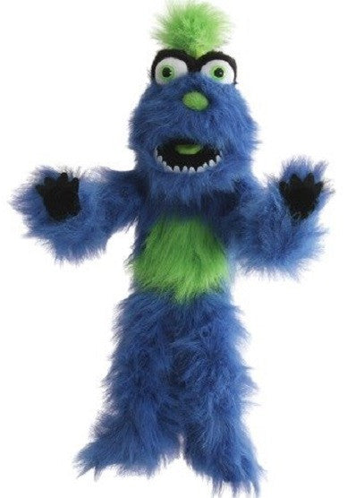 Big Blue Monster Puppet W Squeaker Voice and Green Trim