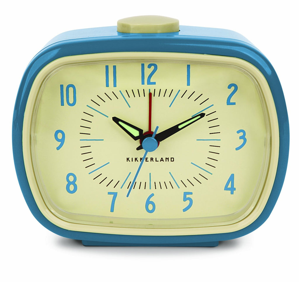 Blue Retro Alarm Clock Analog By Kikkerland