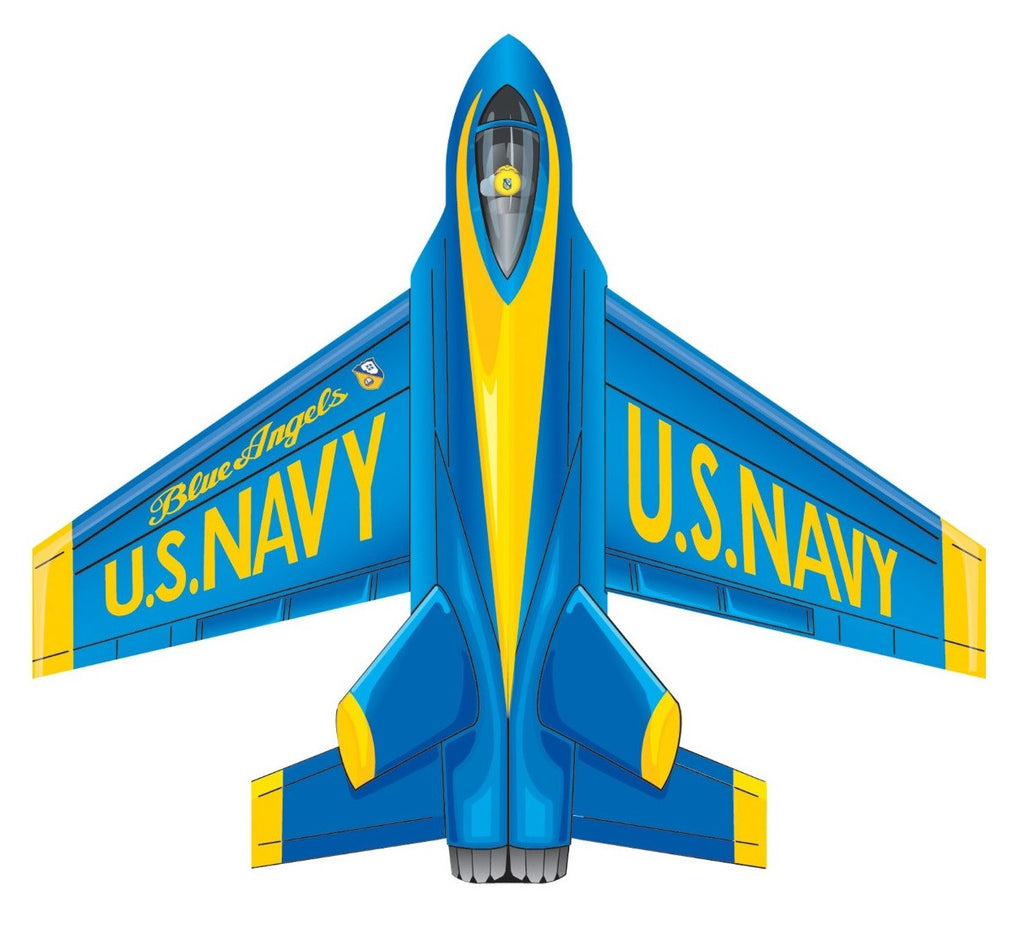 4.7 Inch Wind 'n Sun MicroJet Blue Angels Kite w/Handle & Line