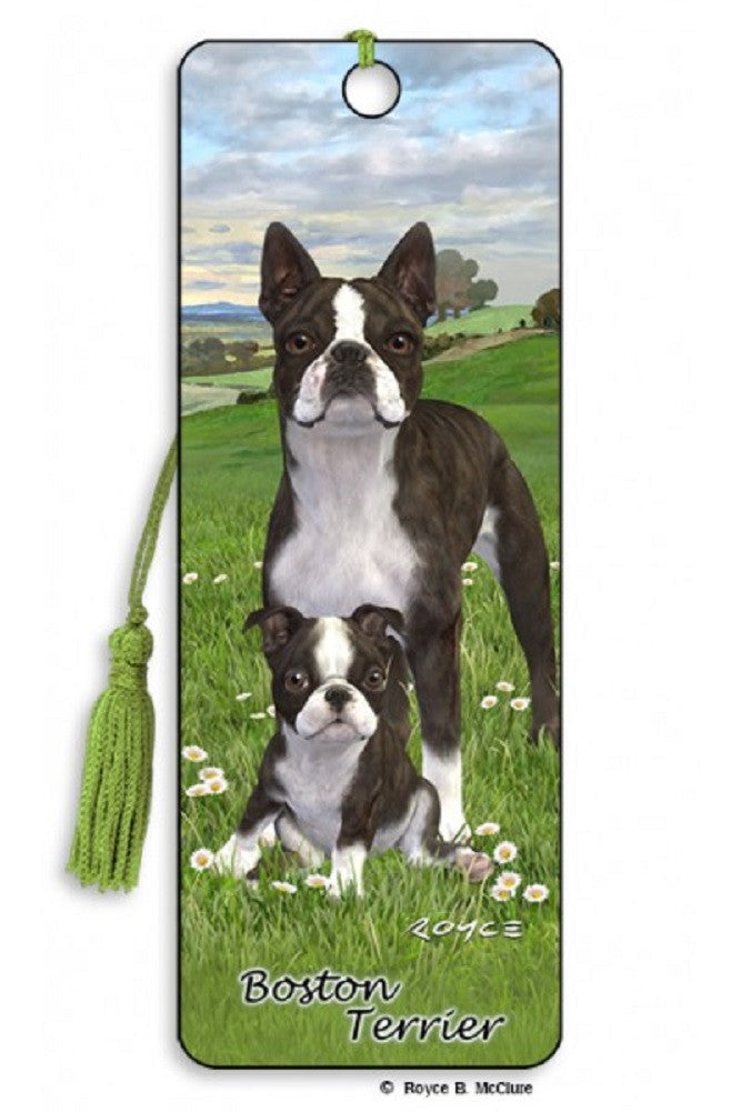 Boston Terrier Dog 3D Lenticular Bookmark with Tassel by Artgame