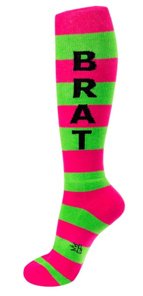 Brat Socks - Hot Pink and Lime Unisex Knee High Socks - Off The Wall Toys and Gifts