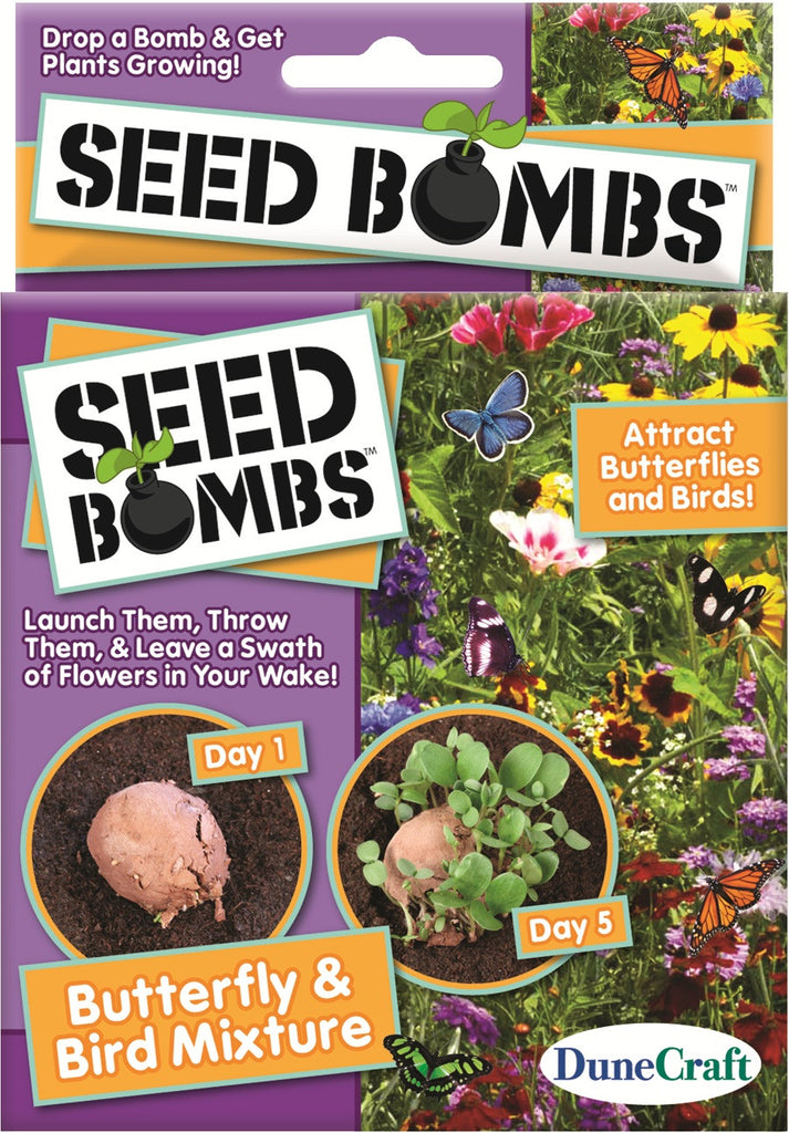 6 Seed Bombs - Attract Butterflies and Hummingbirds Mixture