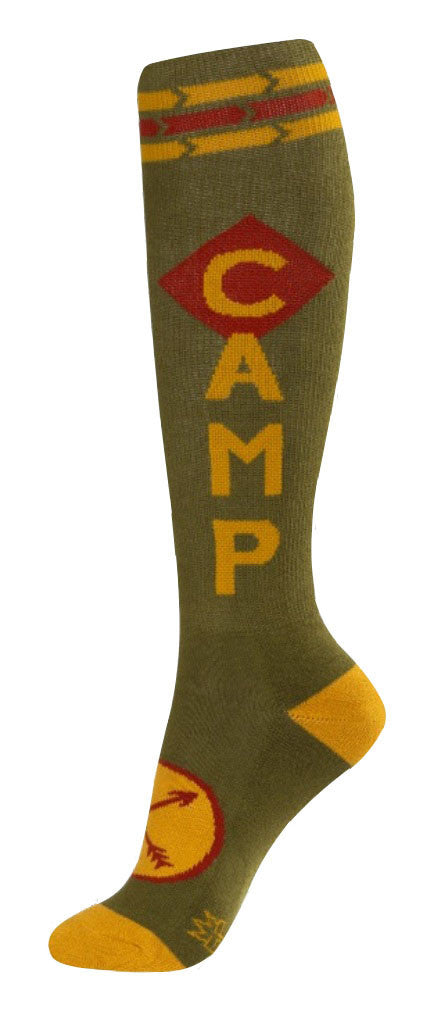 Camp Socks - Olive Green, Gold and Red Unisex Knee High Socks - Off The Wall Toys and Gifts