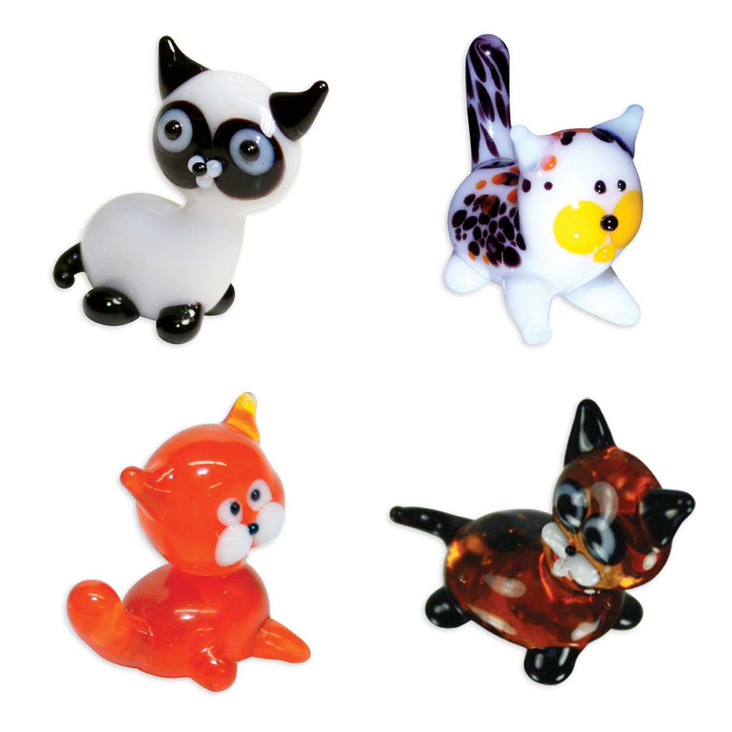 Looking Glass Torch - Feline Figurines - Siamese, Calico, Tabby & Kitten (4-Pack)