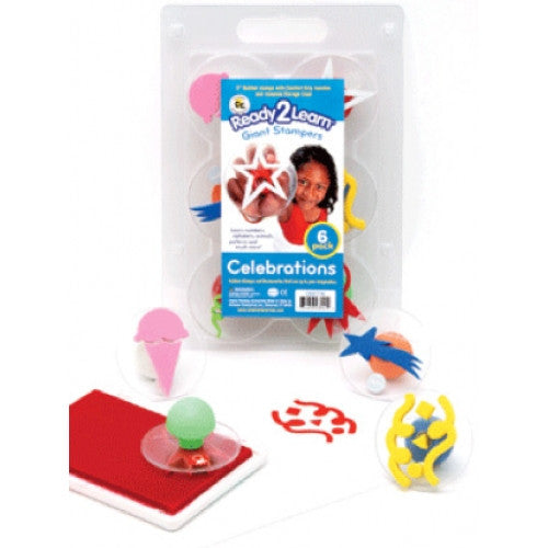 Set of 6 Celebrations Giant Rubber Stampers w Case/ Ribbon, Star Etc - Off The Wall Toys and Gifts
