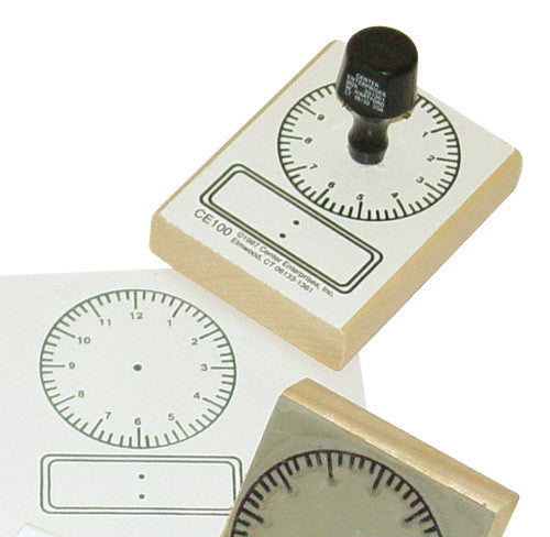 Large 2.25 Inch Clock Rubber Stamper/ Time Educational Teaching  Aid