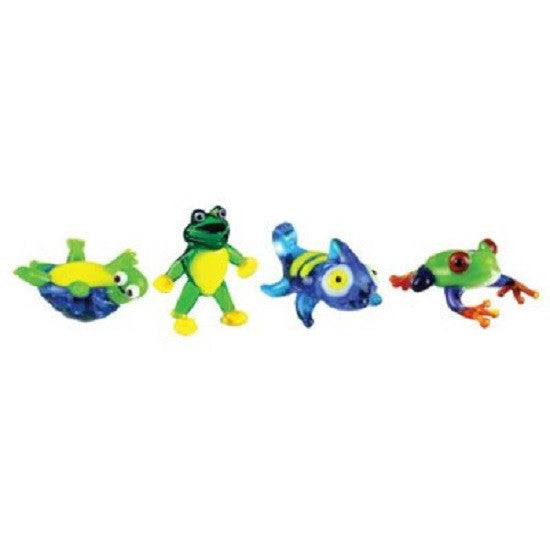Looking Glass Miniature Collectible - Turtle, 2 Frogs, Chameleon (4-Pack)