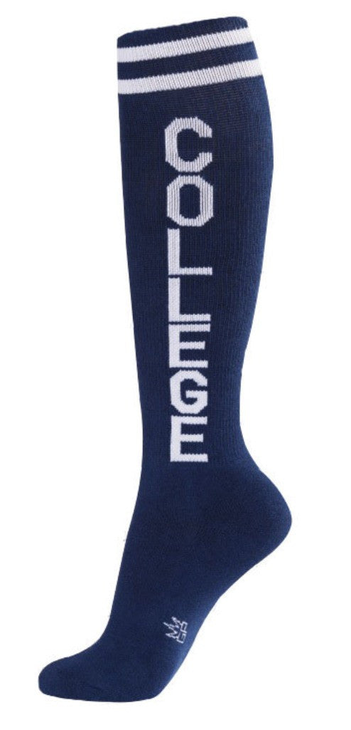 College Socks - Navy and White Unisex Knee High Socks - Off The Wall Toys and Gifts