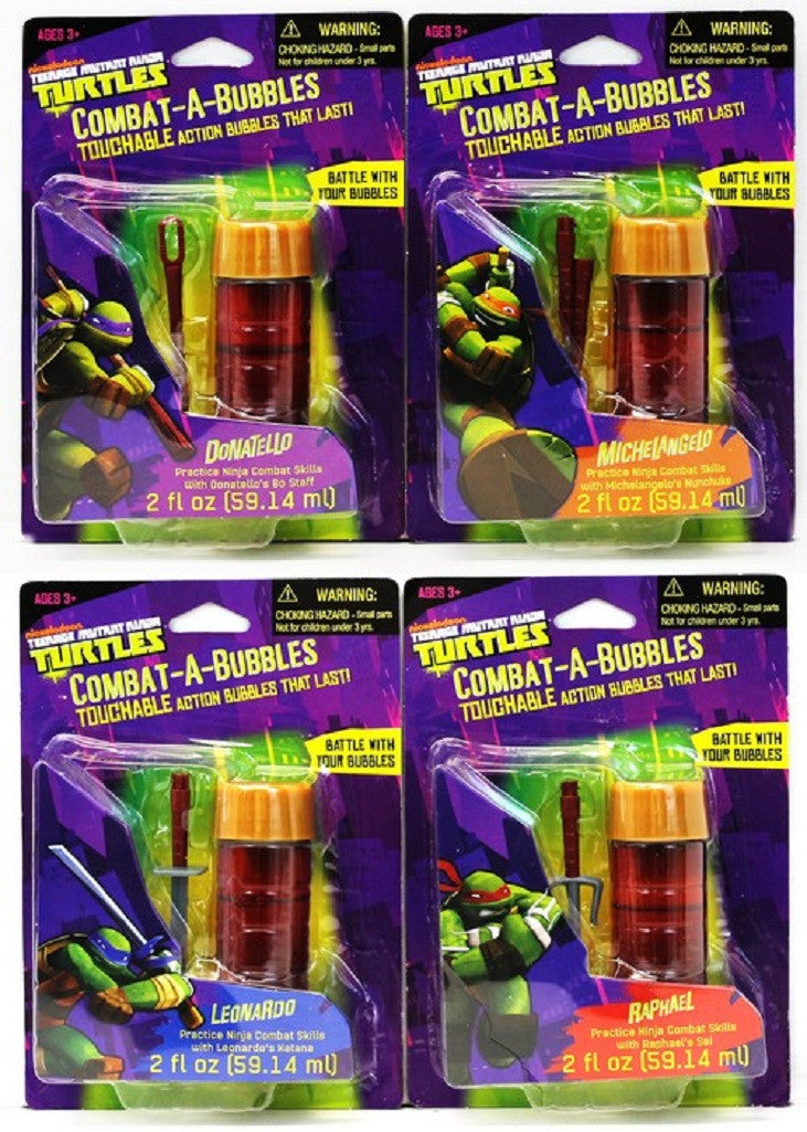 Combat-a-Bubbles Teenage Mutant Ninja Turtles by Little Kids - 4 Pack - Off The Wall Toys and Gifts