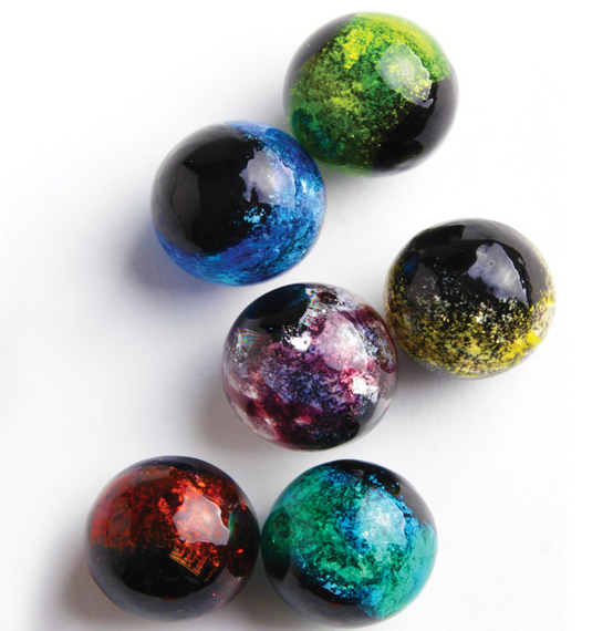 """Constellation"" 22mm Handmade Art Glass Marbles w/Stands - Set of 6"