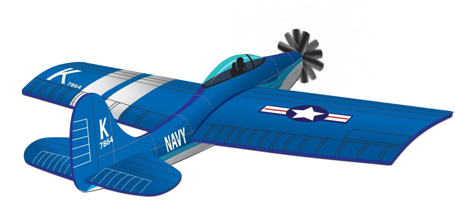 45 Inch Wind 'N Sun Wind Force Corsair Fighter Plane 3-D Nylon Kite - Off The Wall Toys and Gifts