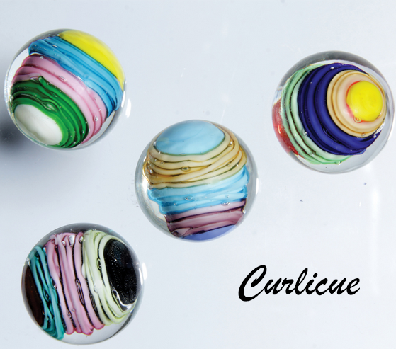 """Curlicue"" 22mm Handmade Art Glass Marble w Stand - Set of 4"