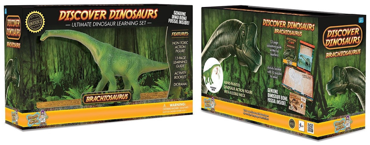 "8"" Long Brachiosaurus Dinosaur Action Figure w/Activity Book, by Dr. Cool - Off The Wall Toys and Gifts"