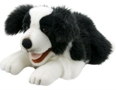 Border Collie 20 Inch Playful Puppy Plush Puppet by The Puppet Company