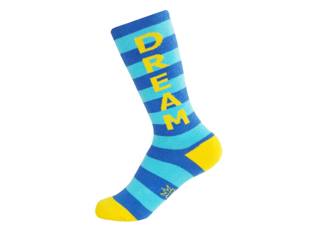 Dream Socks - Kids Royal Blue, Turquoise and Yellow Unisex Knee High Socks - Off The Wall Toys and Gifts