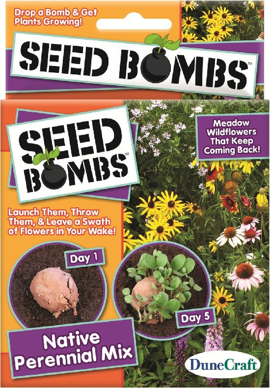 6 Seed Bombs - Native Perennial Wildflower Mix - Off The Wall Toys and Gifts
