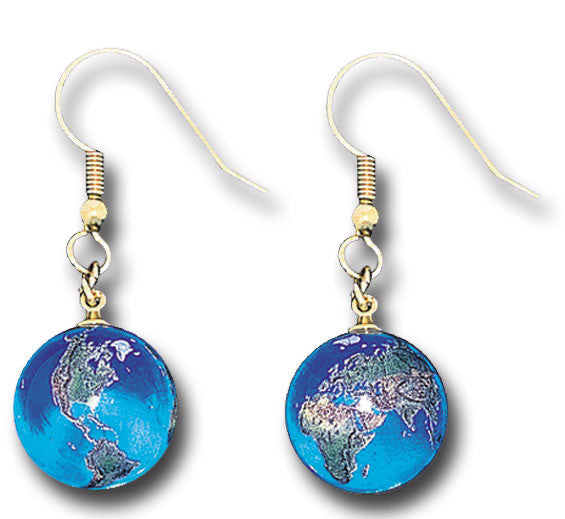 Earrings - Blue Recycled Glass Earth Marbles With Gold Fill Findings