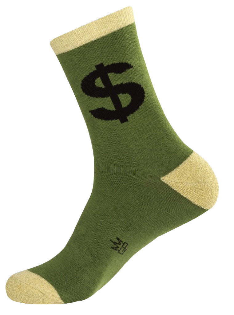 Cash Socks - Green, Metallic Green and Black Unisex Crew Socks - Off The Wall Toys and Gifts
