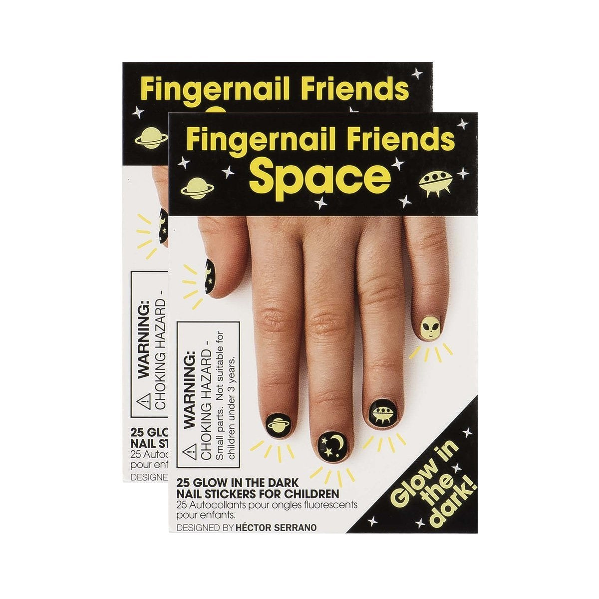 Fingernail Friends Space Glow in the Dark Nail Stickers Pack of 2 - Off The Wall Toys and Gifts