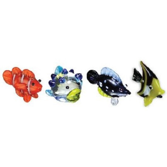 Looking Glass Miniature Collectible - ClownFish, BlowFish, TriggerFish & IdolFish (4-Pack)