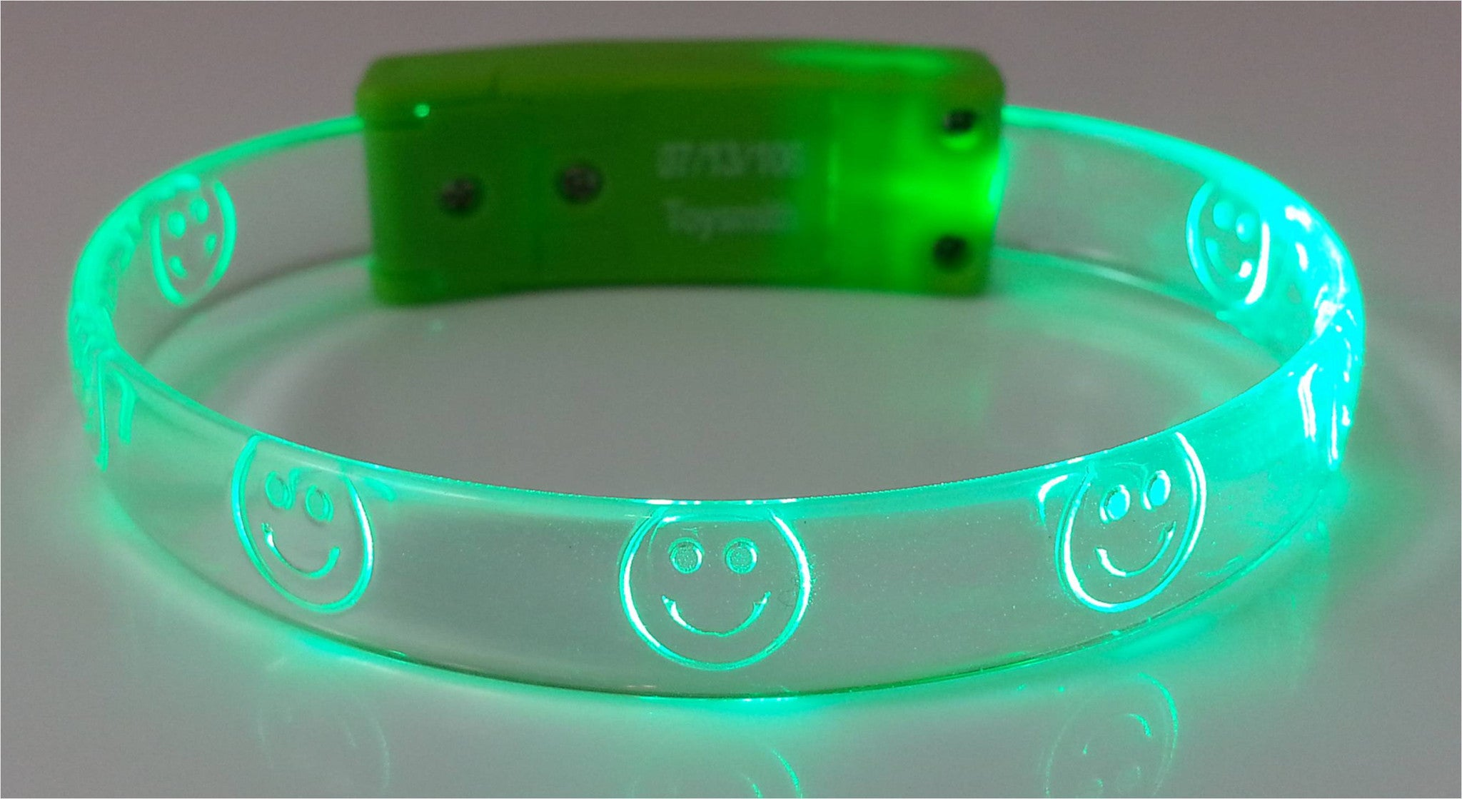 FlashBanz Designz Light Up Bracelet - Green with Smiley Faces - Off The Wall Toys and Gifts