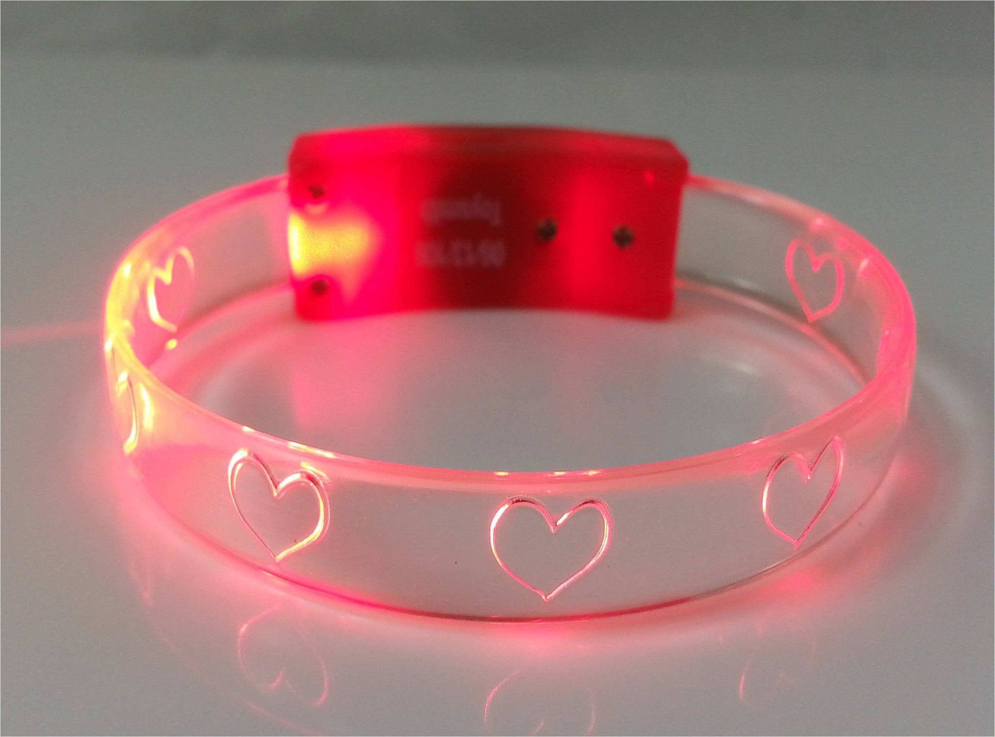FlashBanz Designz Light Up Bracelet - Red with Hearts - Off The Wall Toys and Gifts