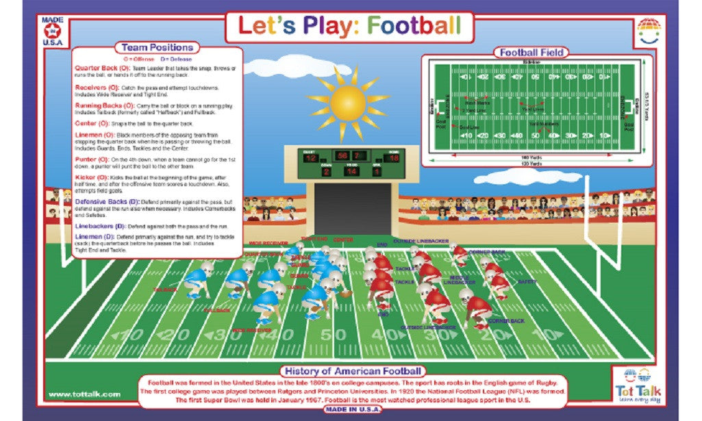 Let's Play American Football - Activity Placemat by Tot Talk - Off The Wall Toys and Gifts