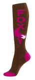 Foxy Socks - Pink and Brown Unisex Knee High Socks - Off The Wall Toys and Gifts
