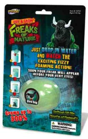 Freak of Nature Fizz and Grow Animal:RatSnake, BigFoot, CatFish, HorseFly, BirdDog OR BullFrog