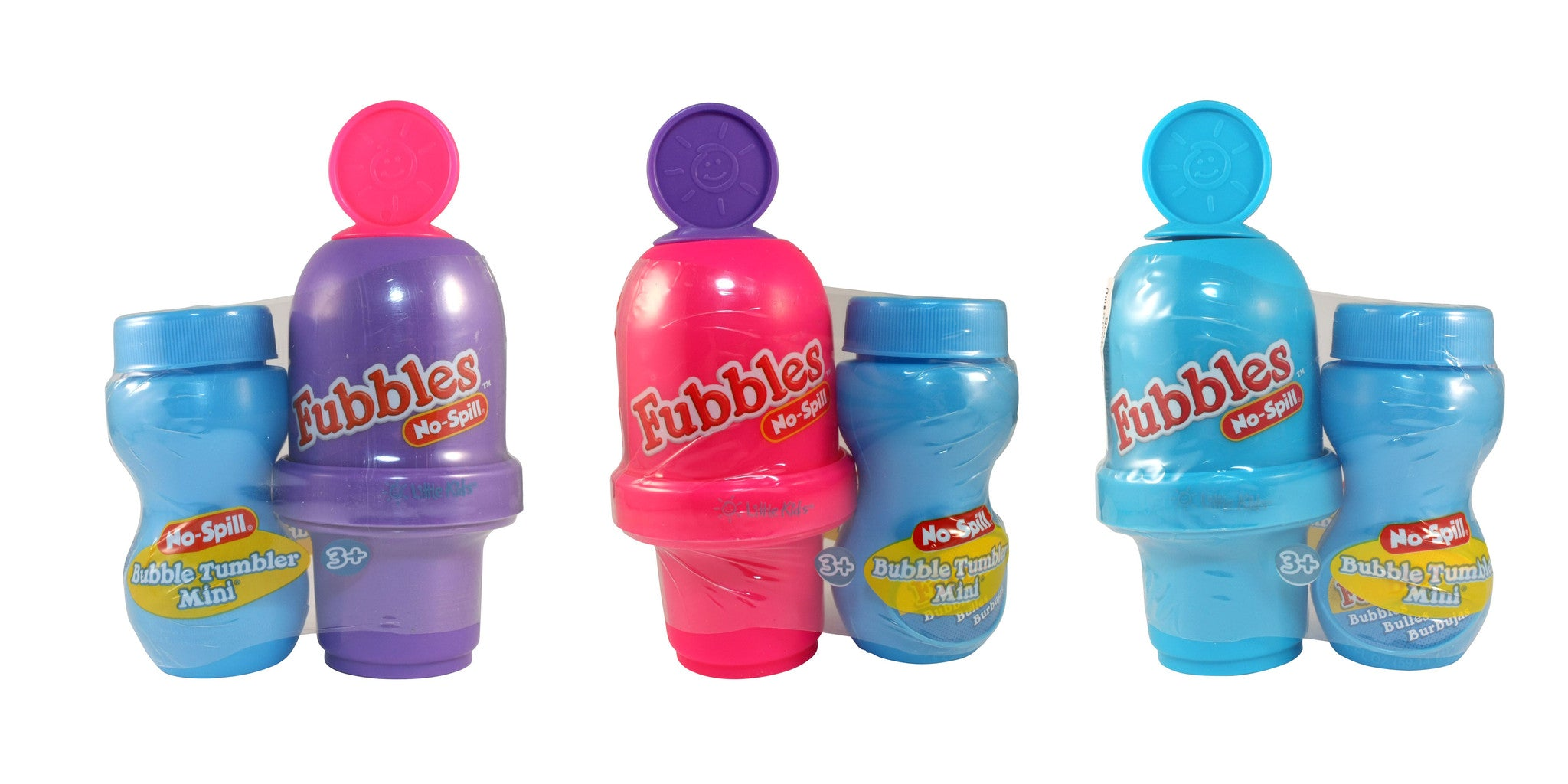 Fubbles No-Spill Bubble Tumbler Minis Pastel Colors Pack of 3 - Off The Wall Toys and Gifts