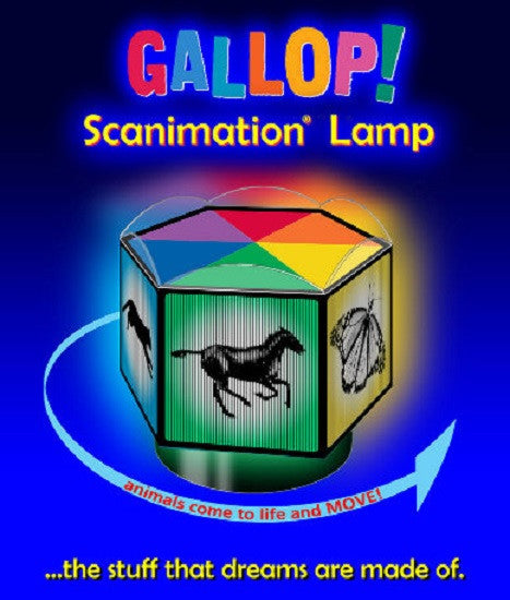 Gallop! Scanimation Lamp - Animals Appear to Move as Lamp Turns