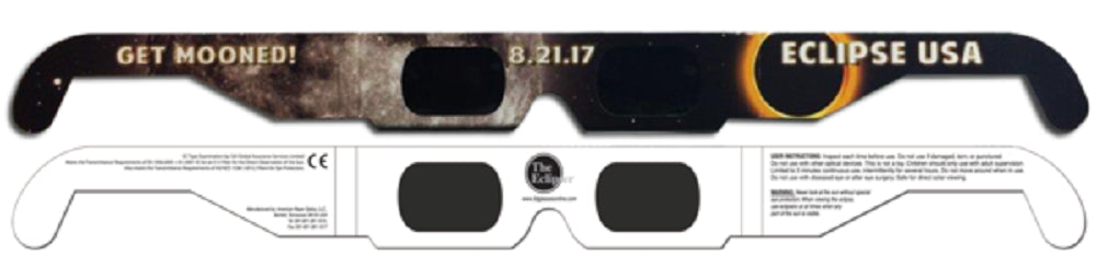 The Eclipser Safe Solar Eclipse Glasses CE Certified, 'Get Mooned' Frame - Pack of 3