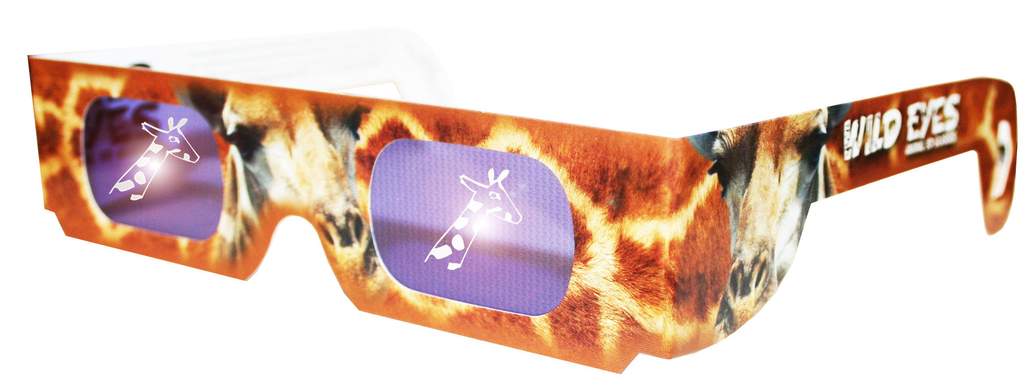 Holographic Giraffe Wild Eyes 3D Paper Glasses - Off The Wall Toys and Gifts